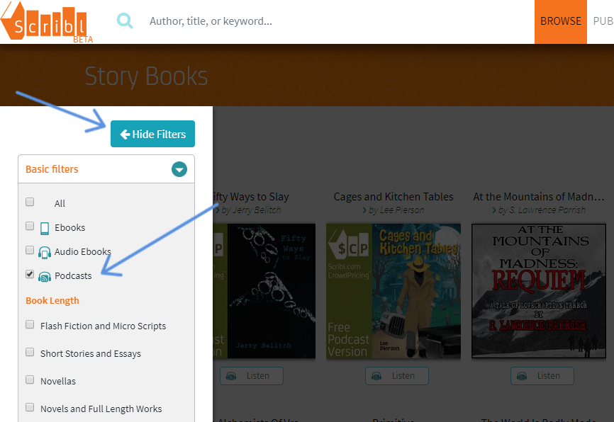"screenshot with arrows pointing to ""podcasts"" and to click Hide Filter"
