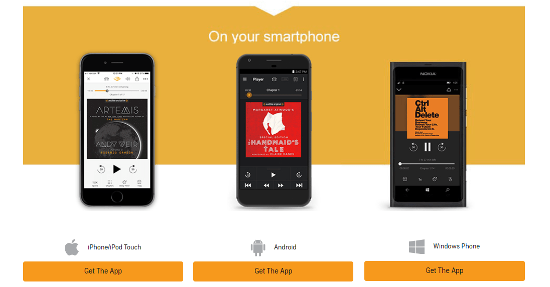 screenshot of options to download free audible app
