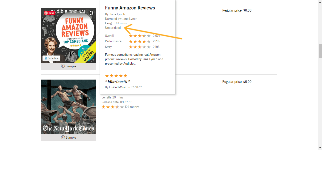"screenshot with arrow pointing to description of a free Audible audiobook saying ""unabridged"""