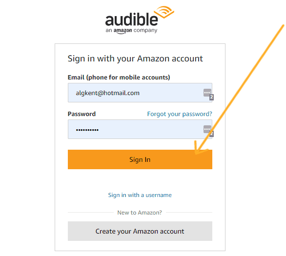 screenshot with arrow pointing to sign in on amazon page