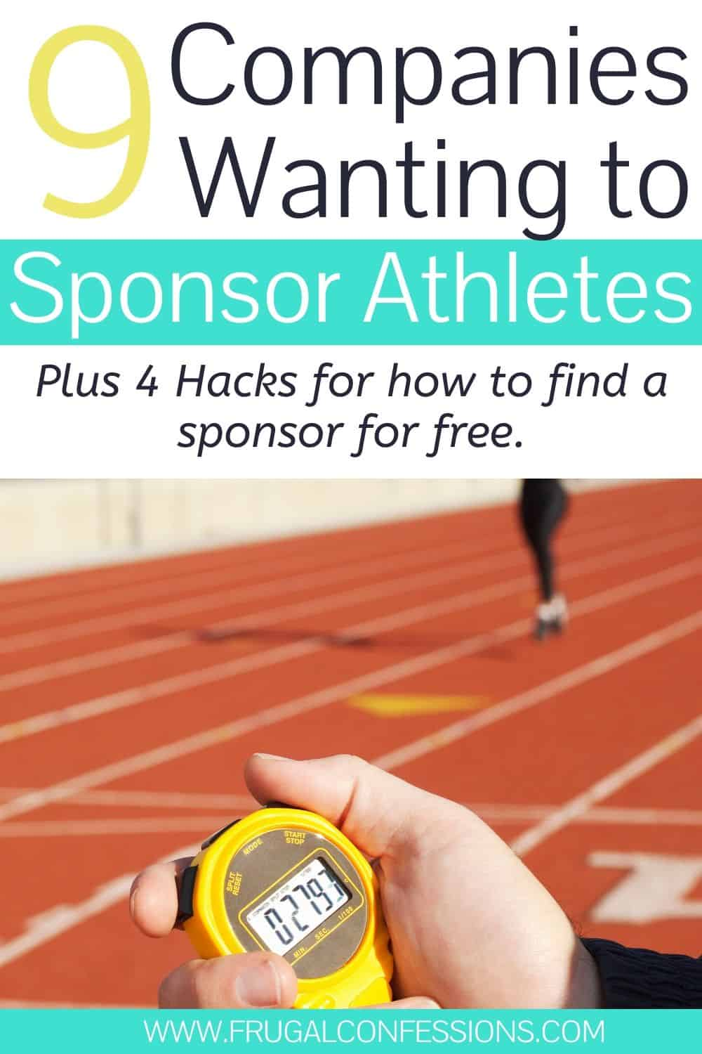 """female runner and track coach, text overlay """"9 companies wanting to sponsor athletes, plus 4 hacks for how to find a sponsor for free"""""""