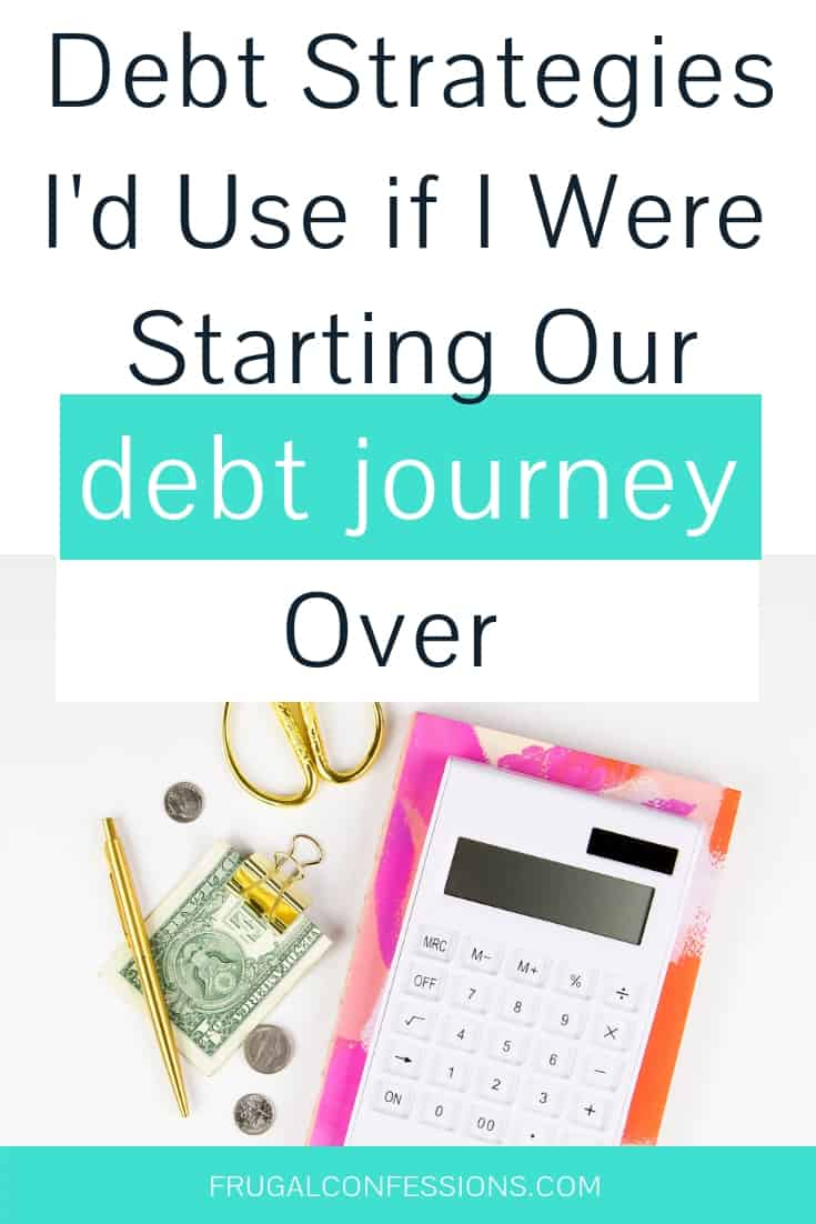 "white desktop with calculator, money in clip, gold scissors with text overlay ""debt strategies I'd use if I were starting over"""