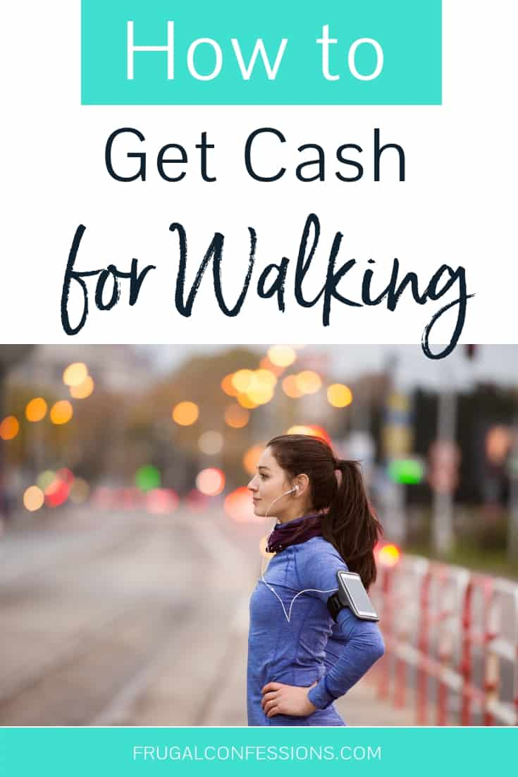 "girl with fitbit strapped to upper arm, ready to walk, with text overlay ""how to get cash for walking with fitbit"""