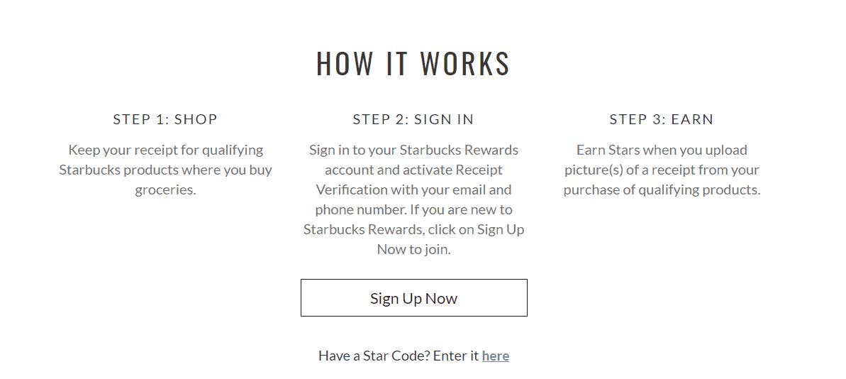 screenshot of new starbucks receipt reward system