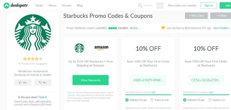 screenshot of dealspotr starbucks promos