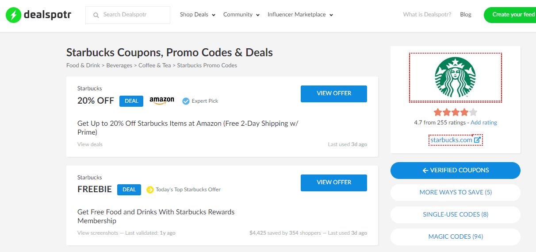 dealspotr screenshot with no starbucks deals