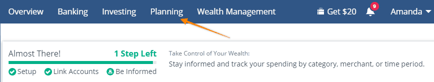 "screenshot of personal capital dashboard pointing to ""planning"""
