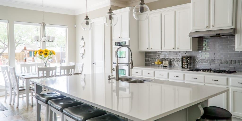 beautiful, spacious, white kitchen