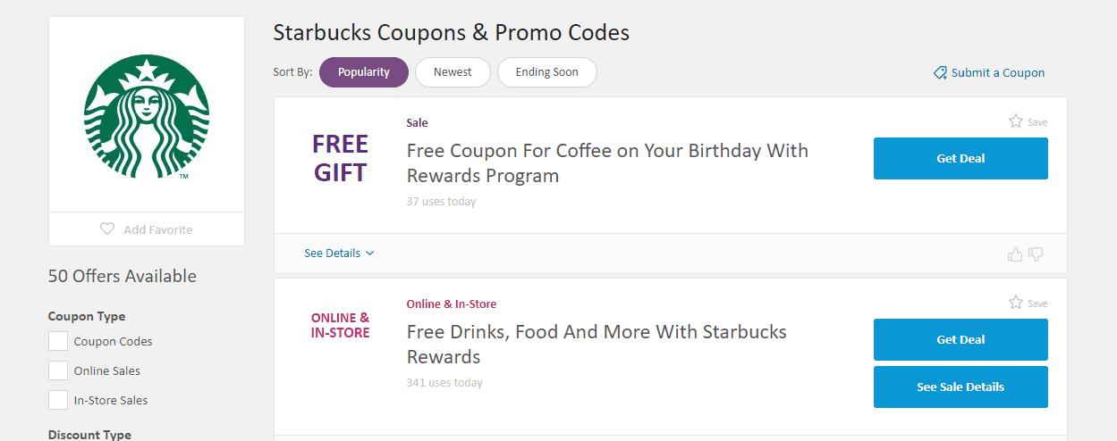 retailmenot screenshot with no starbucks deals