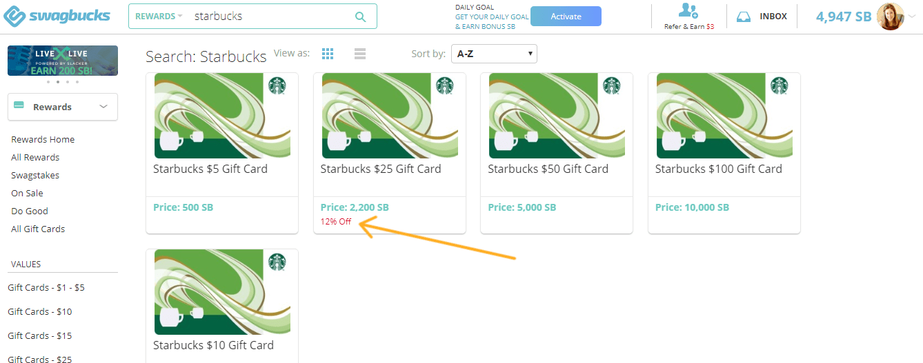 screenshot of swagbucks starbucks discount cards offer with 12% off
