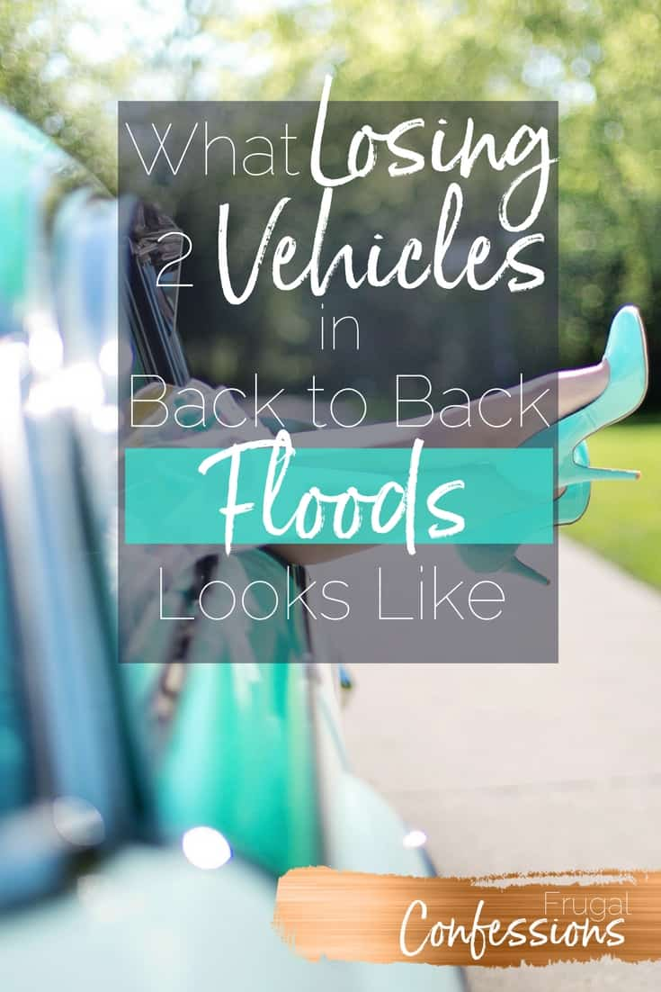 "woman's legs with high heels dangling out of car window with text overlay ""what losing 2 vehicles in back to back floods looks like"""