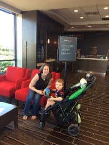 author with son in stroller at PurePoint bank