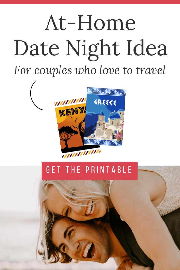 "young couple on beach together with text overlay ""at home date night idea for couples who love to travel, get the printable"""