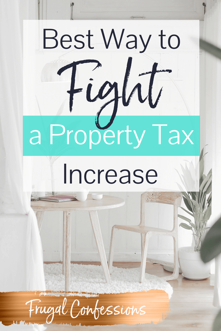 "sitting area in a white room, with a lamp, plant, and table with text overlay ""best way to fight a property tax increase"""