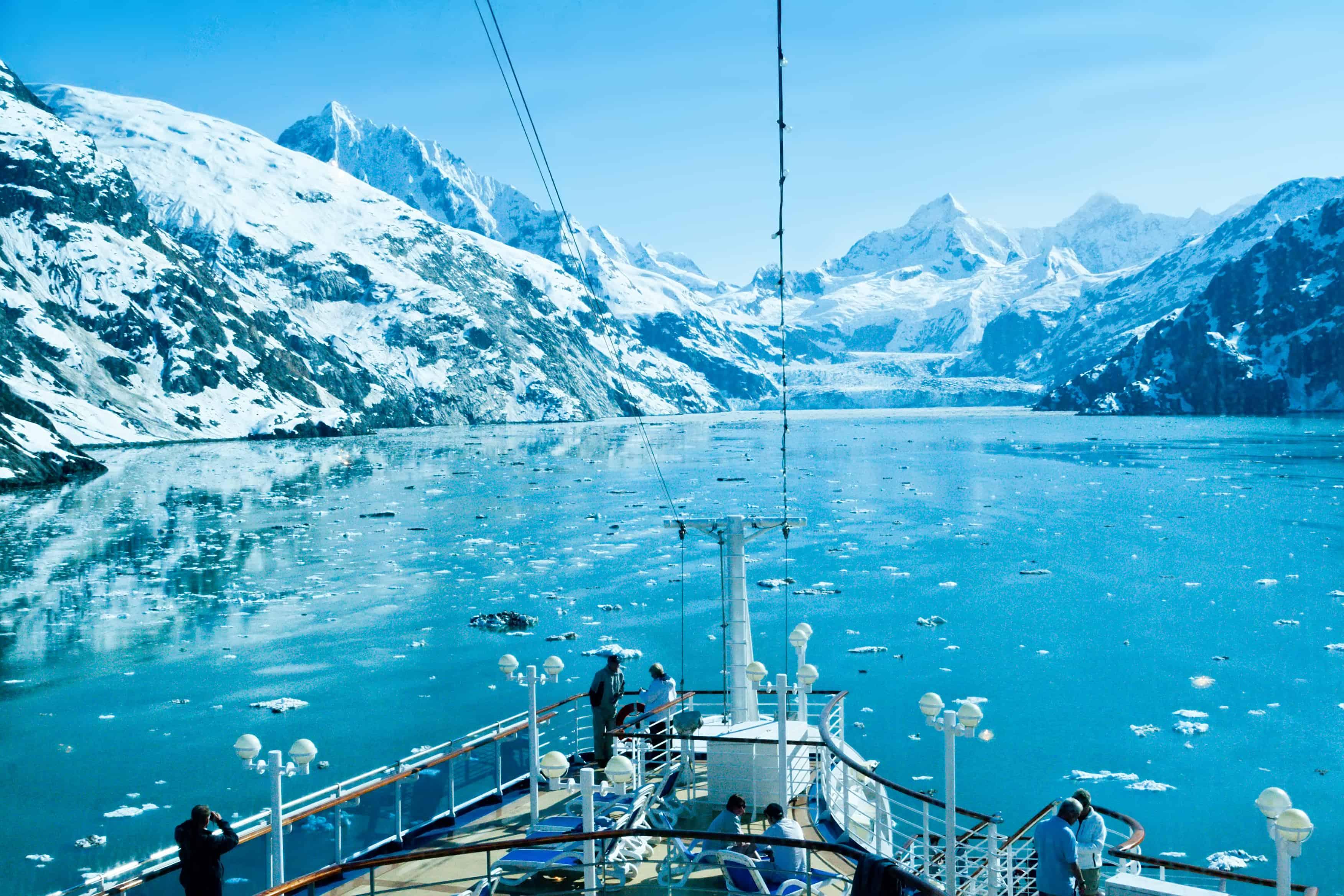 boat heading into Glacier Bay National Park, available in Alaska seasonal work