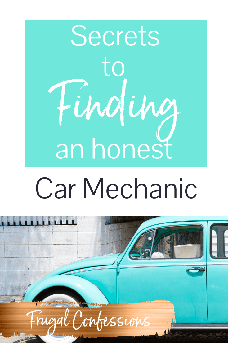 """powder blue volkswagen bug with text overlay """"secrets to finding an honest car mechanic"""""""