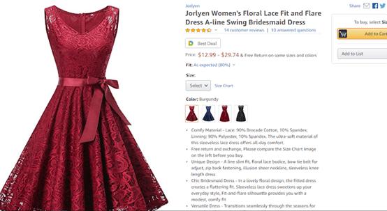 screenshot of red dress on amazon
