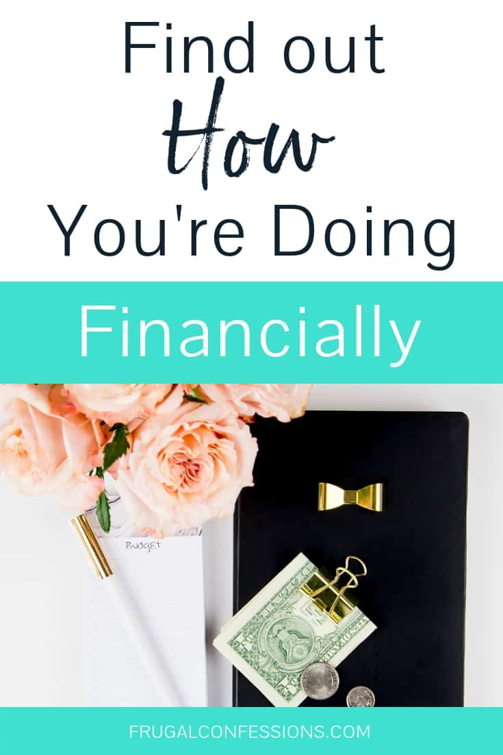 "white desktop with pink flowers and calculator with text overlay ""find out how you're doing financially"""