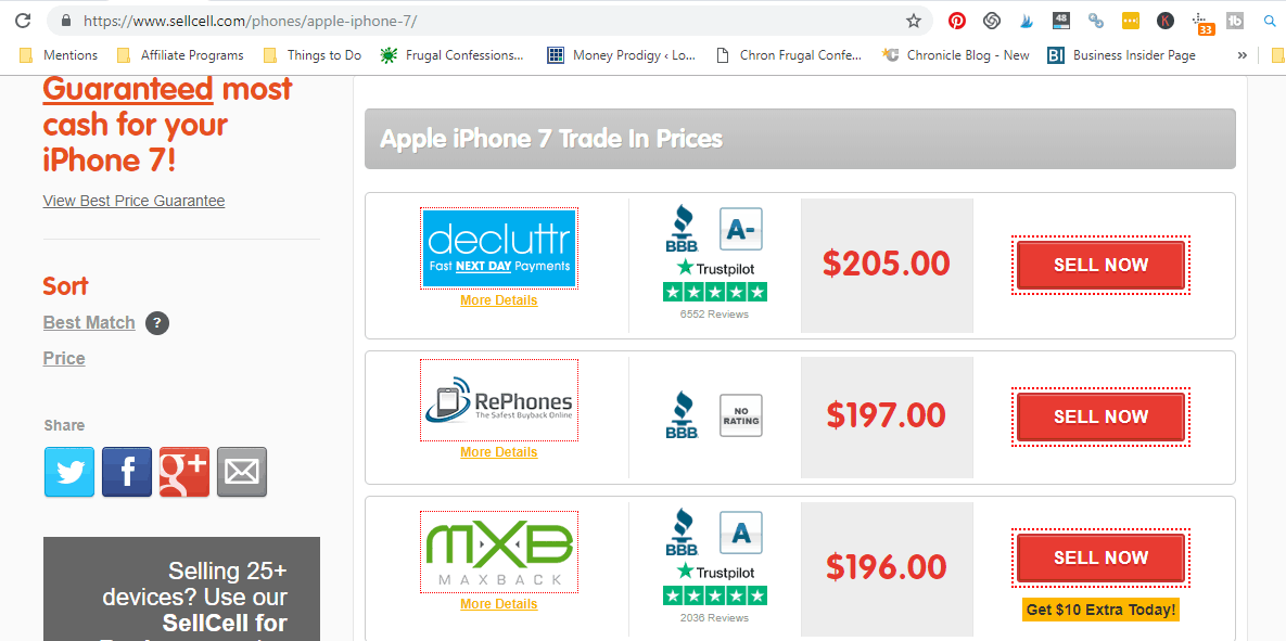 image of comparison buyback prices for an apple iphone 7, from $10 to $205
