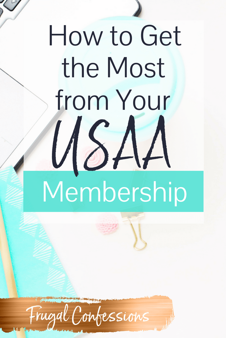 """coffee cup with a light blue lid on a desk with a laptop, with text overlay, """"how to get the most from your USAA membership"""""""