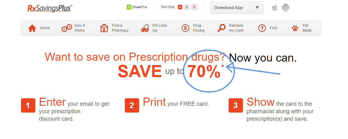 screenshot of rx savings plus that says up to 70% savings on prescription drugs