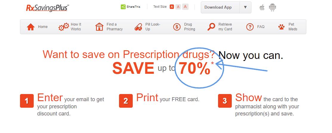 screenshot of rx savings plus that says up to 70% savings on prescription drugs