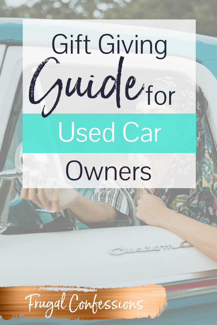 """bohemian woman in blue and white truck with text overlay """"gift giving guide for used car owners"""""""