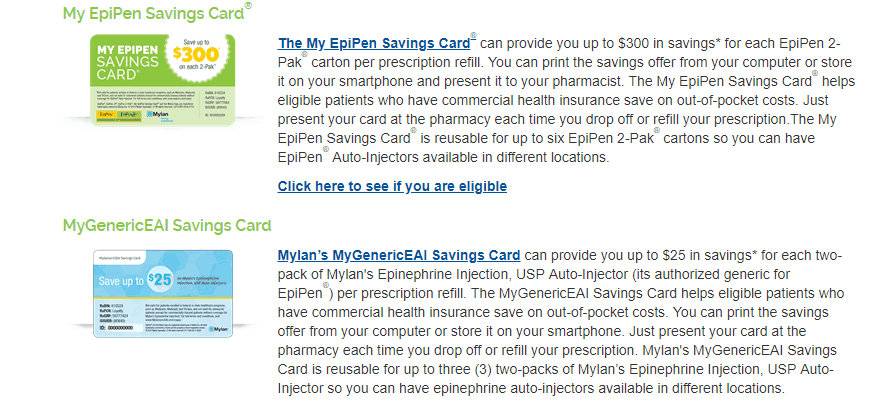 screenshot of epipens savings program, for savings of $300