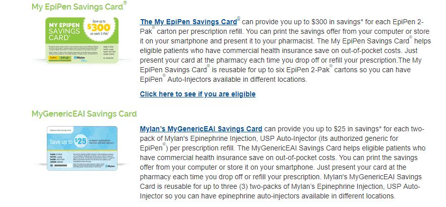 screenshot of epipens savings program, for savings of $300