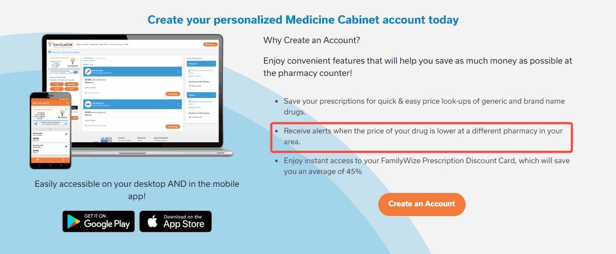 screenshot of familywize's personal medicine cabinet system that tracks costs of your prescriptions