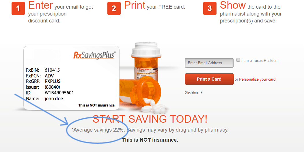 screenshot of rx savings plus website that says average savings is 22%