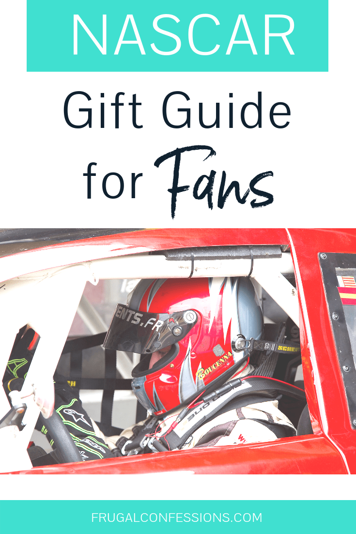 """man in helmet driving a red race car with text overlay """"NASCAR gift guide for fans"""""""
