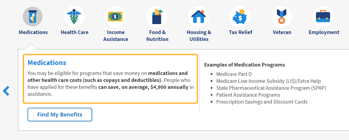screenshot with box around free benefits checker tool for prescriptions