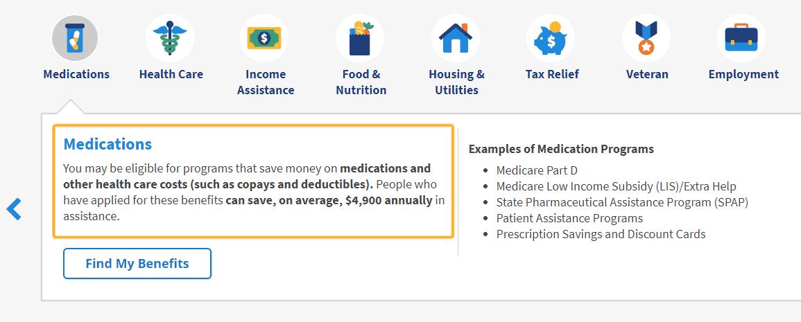 screenshot with box around free benefits checker tool for prescriptions