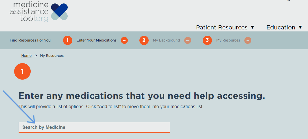 screenshot of search bar in Medicine Assistance Tool