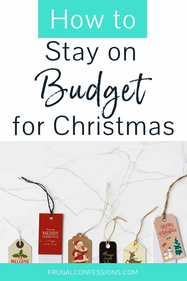 "holiday gift tags on a marble desktop background with text overlay ""how to stay on budget for Christmas"""