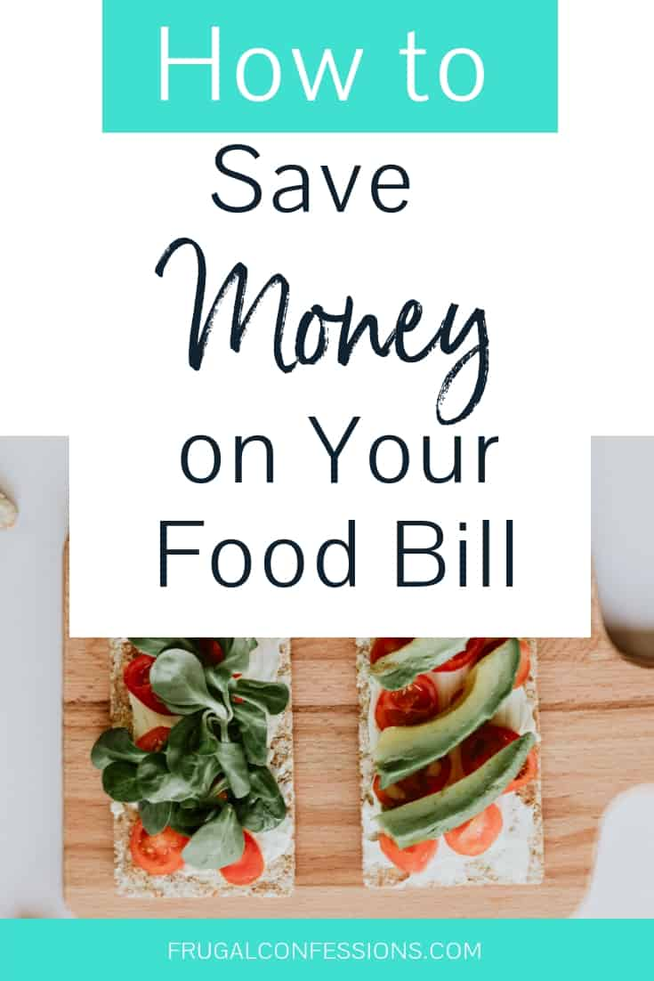"two flatbreads with spinach, tomato toppings on wooden cutting board with text overlay ""how to save money on your food bill"""