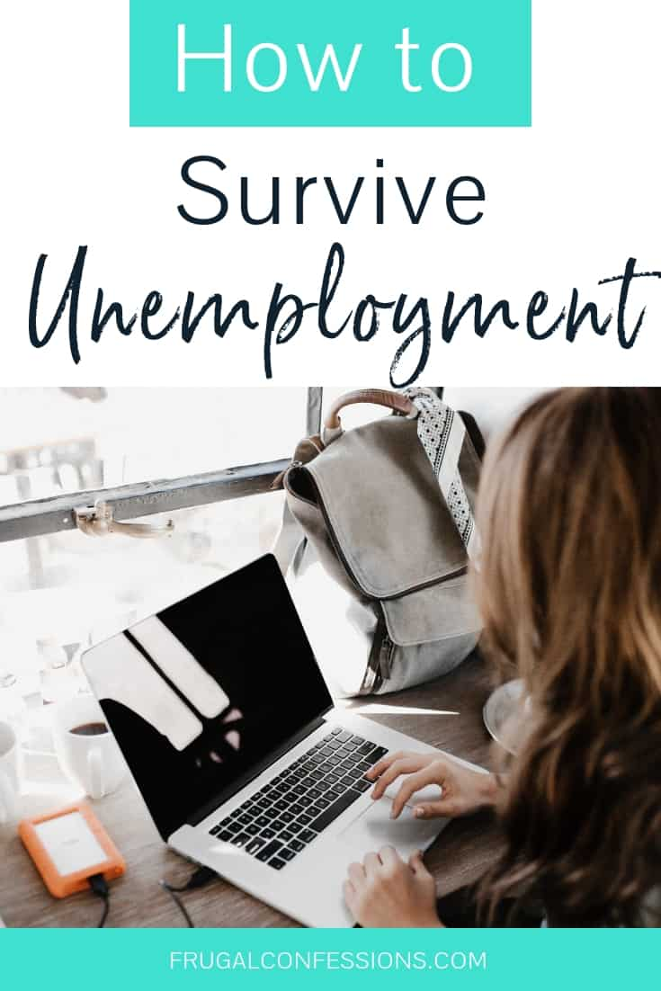 """woman on laptop by sunny window with text overlay """"how to survive unemployment"""""""