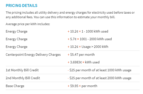 screen shot of graph that shows price per kilowatt broken down by usage tiers