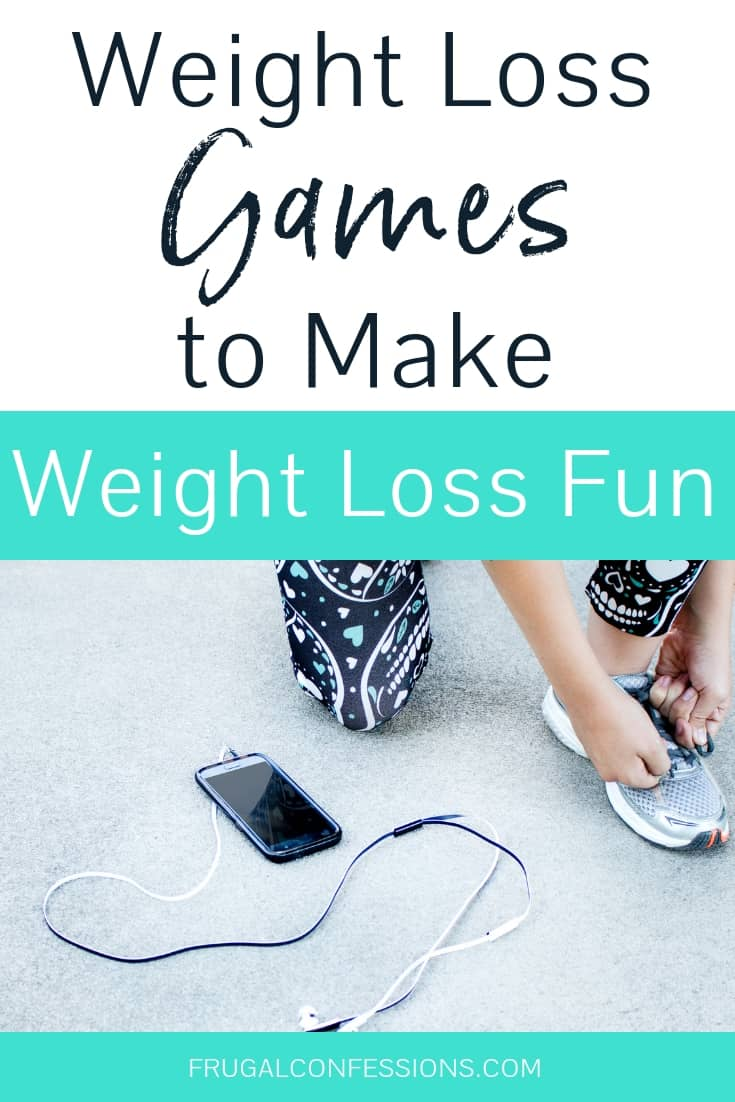 "runner with yoga pants crouching down to tie shoes with text overlay ""weight loss games to make weight loss fun"""