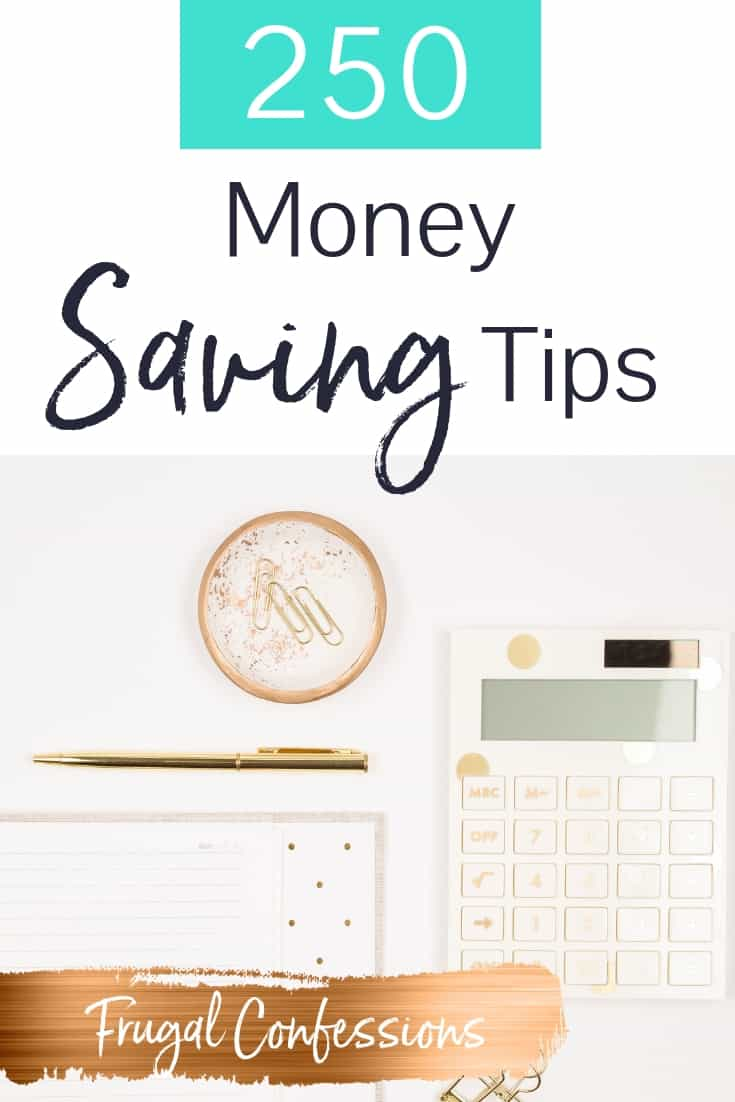 "white desktop with white calculator, pen, notepad with text overlay ""250 money saving tips"""