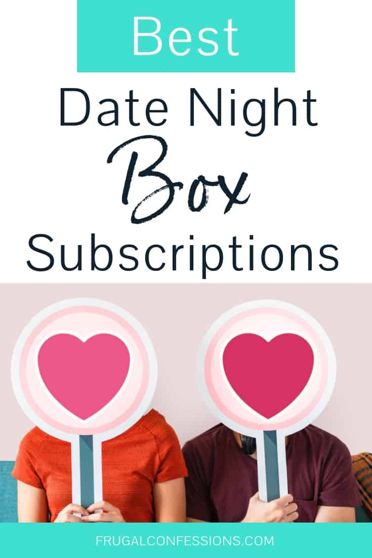 "a couple with two heart signs masking their faces with text overlay ""best date night box subscriptions"""