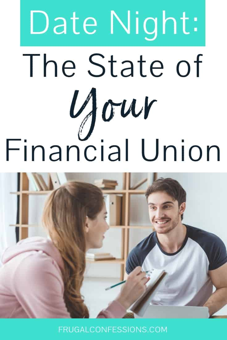 "a couple on date night, having fun quizzing each other with text overlay ""date night: the state of your financial union"""