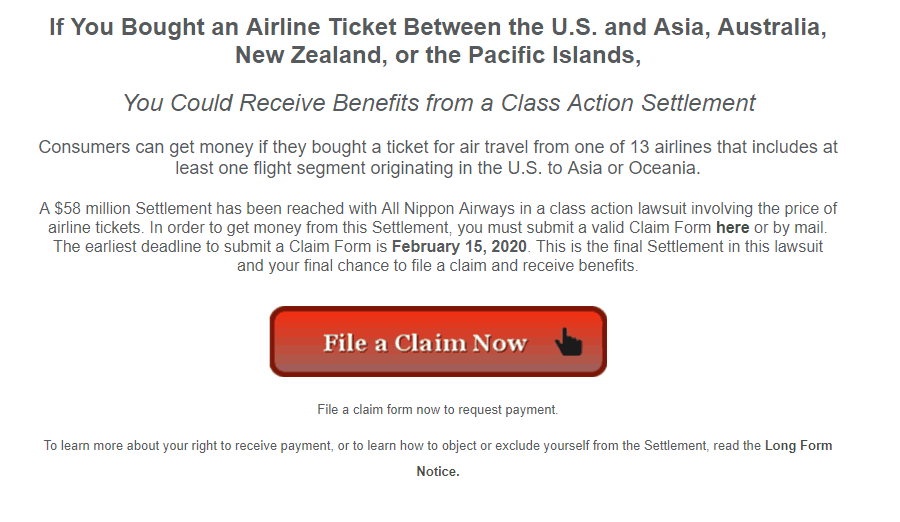 screenshot of a class action lawsuit example if you bought an airline ticket between US and certain countries