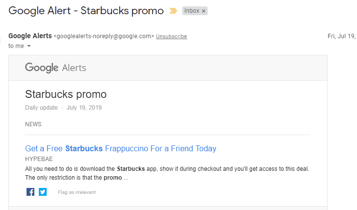 screenshot of a google alert to get a free starbucks for your friend