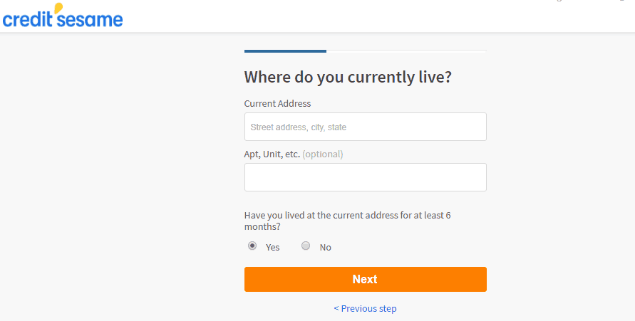 screenshot asking for your current address