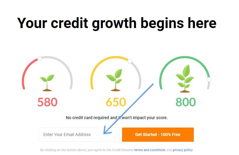 screenshot of sign up for credit sesame