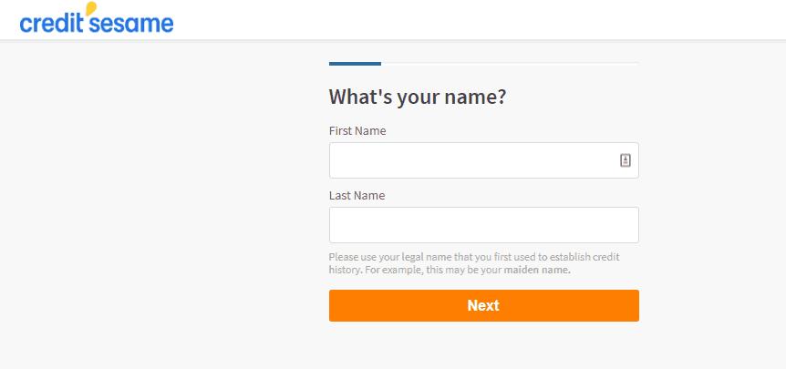 screenshot of credit sesame sign up process