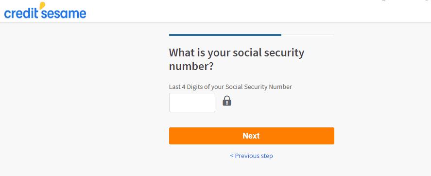 credit sesame screenshot of sign up process