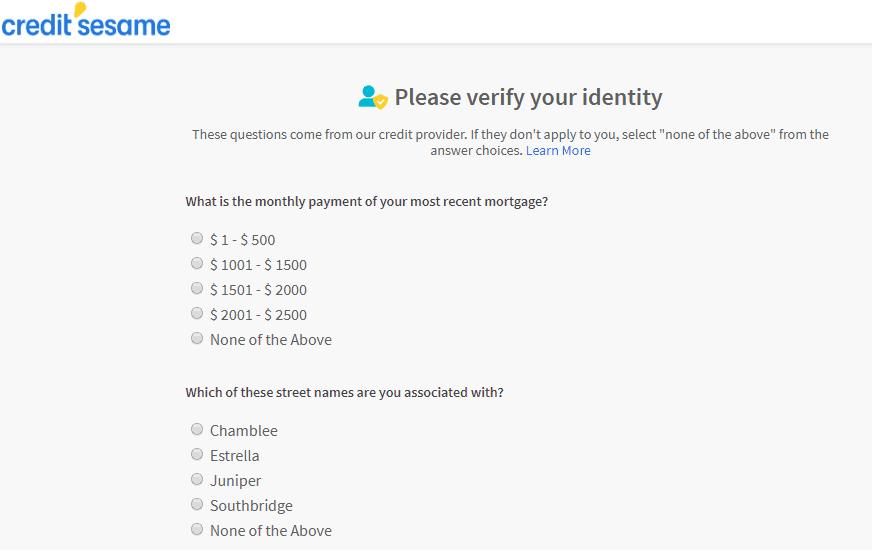 credit sesame verification screen